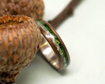 Walnut Bentwood Ring with Sterling Silver Liner and Green/White Mother of Pearl