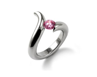 Pink Sapphire Ring Tension Set Polished Stainless Steel Mounting