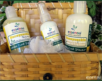 Honeysuckle Botanical 5-Piece Natural Spa Body Bath Care Gift Basket Set | Gift For Her | Or Customize Scent | No Sulfates No Parabens |