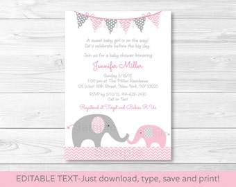 Pink Elephant Chevron Baby Shower Invitation / Pink & Grey / INSTANT DOWNLOAD Editable PDF A203