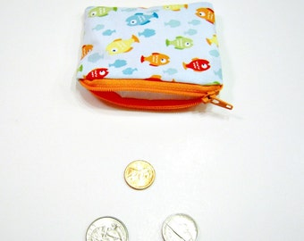 Coin Pouch in Blue Fish