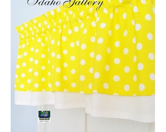 Bright Lemon Yellow with White Dot Double Layer Little Kitchen Curtain Retro Polka Dot Bedroom Curtain Retro Style Valance