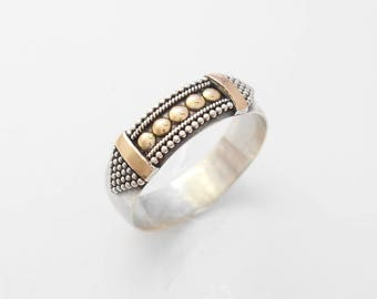 Balinese Sterling Silver granulation technique gold band ring / silver 925 / Bali handmade jewelry / request your size / (#782m)