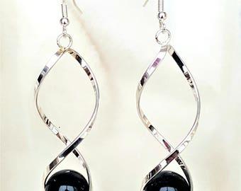 Earrings Twisted Swirl Dangle Drop with Black beads, Fashion Earrings, Statement Earrings