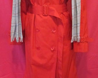Vintage London Fog Long Red Double-Breasted Raincoat with Grey Houndstooth Sash
