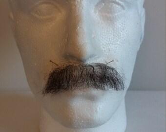 Quality Black Grey Fine Lace Yak / Human Hair Moustache Postiche Film Theatre TV