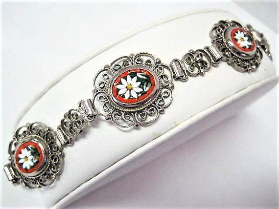 Italy Mosaic Bracelet, Silver Filigree, 5 Panels, White Daisy Floral, Signed GM