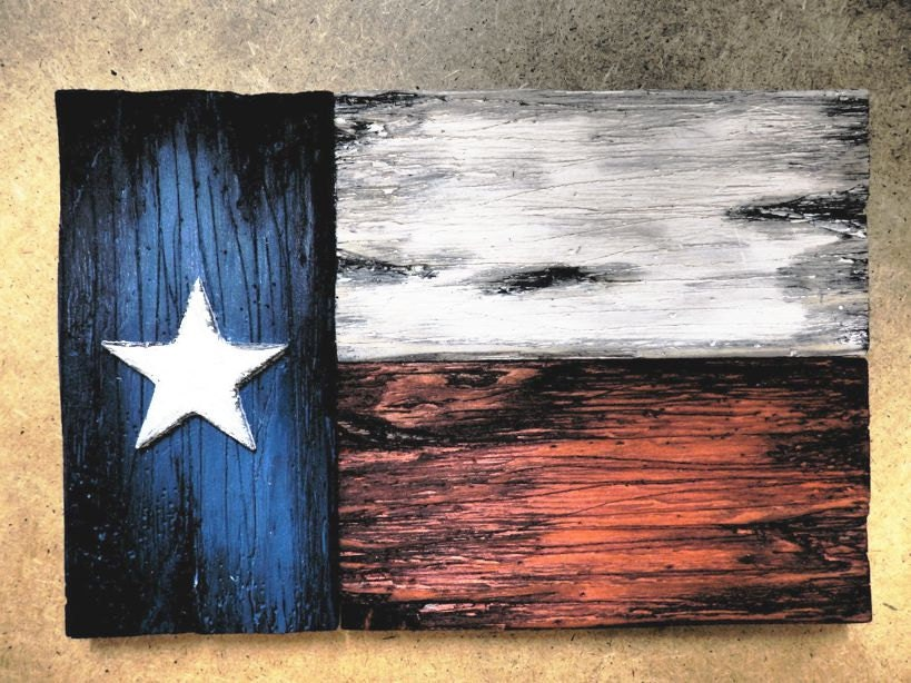 Texas Flag Wall Art   One Of A Kind Wooden Vintage Home Decor   Weathered  Wood