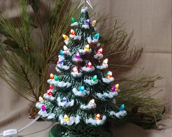"""Ceramic Christmas Tree Lighted 14"""" Nowell Vintage Mold - Green Glaze w/ Fired Snow - Star"""