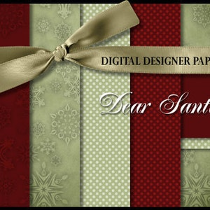 Digital Papers - DEAR SANTA - 12x12 Expertly Designed Photography and Scrapbooking Backdrops.