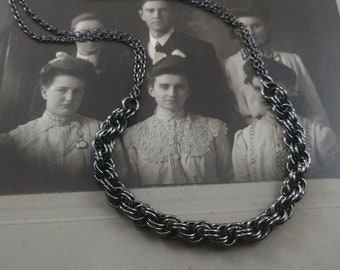 Gunmetal twisting chainmaille punk rock necklace handmade jewelry