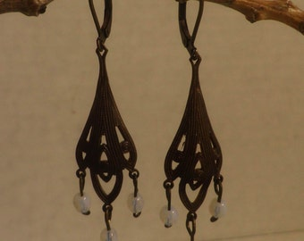 Victorian style Earrings with Moonstone and Oxidized brass