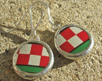 Red and White Checked Christmas Stained Glass Earrings With Recycled Glass
