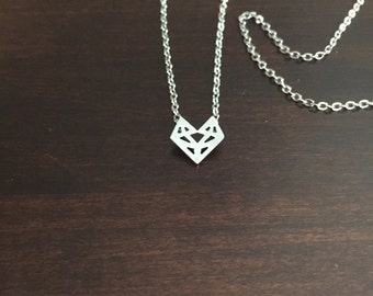 Silver Fox Necklace, origami fox necklace, fox necklace, fox jewelry, fox, silver fox, origami necklace, silver necklace, jewellery