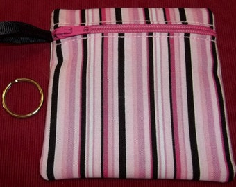 Handmade - Hot Pink and Black Stripe Zippered - Keychain Wallet Coin fabric Gift Card Holder