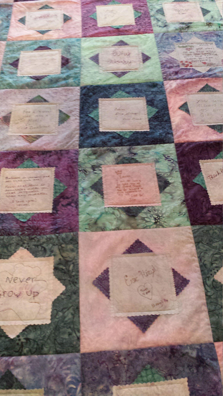 Signature Quilt Graduation Quilt Anniversary Quilt Birthday