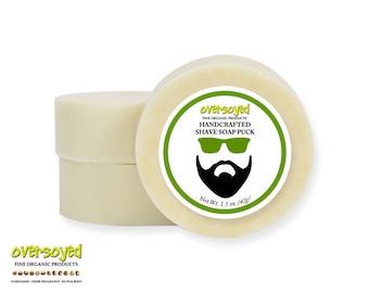 Shave Soap Puck - OverSoyed Organic - Vegan Friendly Grooming Beard Mustache Artisan Rustic Shaving Cream Soap Bar Shea Mango Cocoa Butter