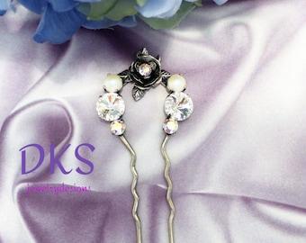 Swarovski Hair Pin,Bridal, Flower, Hair jewelry, Formal, Heirloom Quality, DKSJewelrydesigns, FREE SHIPPING