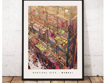 Vertical City - A Mumbai Poster - Special Edition Print of the hand illustrated artwork of Mumbai. Wall Art, Prints of Mumbai