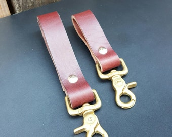 Leather key fob, Brown Leather key fob, Leather fob with solid brass snap hook.