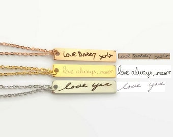 Real hand writing necklace actual writing jewelry gold Bar necklace custom name necklace real writing necklace Christmas gift for her