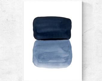 Abstract watercolor wall art, Navy art download, Abstract decor printable, blue abstract art, printable modern abstract, downloadable prints