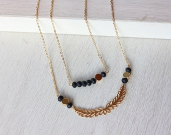 Layering  gold necklace, gold and black necklace, romantic pendant, stacking necklaces, multi strand necklace