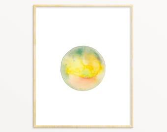 Watercolor Sun Painting / New Age Wall Art / Yoga Studio Art / Yellow Watercolor Sun Wall Art / Blush & Yellow / Planet Art / Moon Art Print