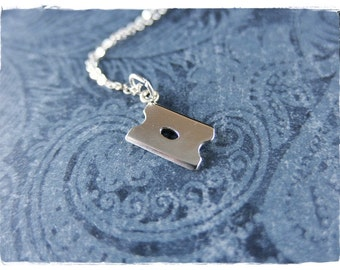 Silver Razor Blade Necklace - Sterling Silver Razor Blade Charm on a Delicate Sterling Silver Cable Chain or Charm Only