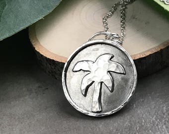 Palm Tree Pendant - Hammered Sterling Silver Circle Palm Tree Necklace - Long Silver Pendant Necklace - Sterling Silver Botanical Jewelry