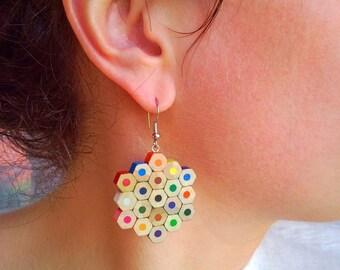 Colored pencil earrings, art teacher earrings, art teacher gift, art teacher birthday gift, art teacher pencil jewelry, gift for art teacher