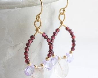 Gemstone chandelier earrings, Gold wire wrapped drop earrings with copper rutilated quartz, lavender cz and garnet, 14k gold filled earrings