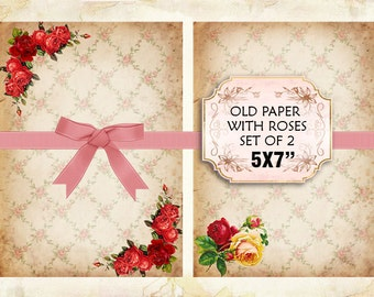 Old paper Vintage with roses Shabby chic paper Scrapbook Decoupage 5x7 inch (377)