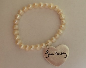 Handwriting Jewelry - Wedding Bracelet for Bride Who's Father is Unable to Attend Wedding - Memorial Jewelry