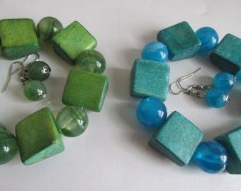 Green OR Blue Bracelet and Earring Sets, Glass and Wood Blue Marble Glass Earring sets, Green Marble Bracelet Sets, Best Friend Jewelry Sets