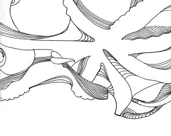 "Octopus Drawing - Day 1 Octopus  - Fine Art Giclee Print of 4""x6"" Black and White Linework Drawing"