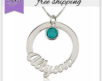 Sterling Silver Circle Name Necklace With Birthstone • Family Kid Name Necklace • Birthstone Jewelry • Name Pendant • Custom Mom Jewelry