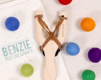 Slingshot Kit // Felt Ball Ammo // Christmas Gift, Rainbow Pom-Poms, Wood Slingshot, Felt Balls, Felted Balls, Felt Beads, Stocking Stuffer