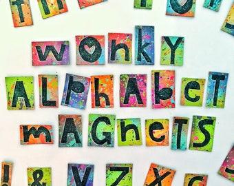 Hand Painted Wonky Alphabet Magnet Tiles
