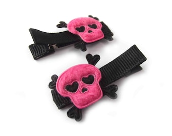Hot Pink Skull Hair Clips Skull and Crossbones Halloween Hair Clips Rock N Roll Punk Hair Clips Hot Pink Hair Clips Black Hair Clips Hearts