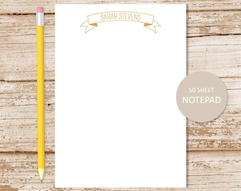 personalized notepad . ribbon banner note pad . banner notepad . personalized stationery, stationary