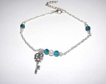 anklet / ankle bracelet Pearl Crystal and glass blue and white, key