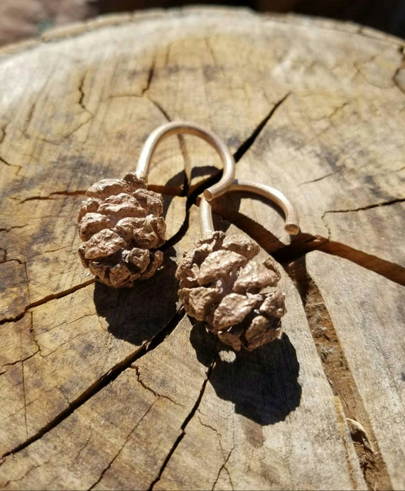 Redwood Cone Cast Bronze Ear Weights
