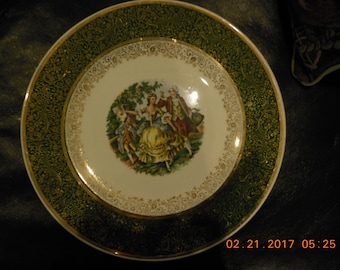 """11"""" Royal  ,chargers fine China plate with 22 K Gold Empire Godey"""