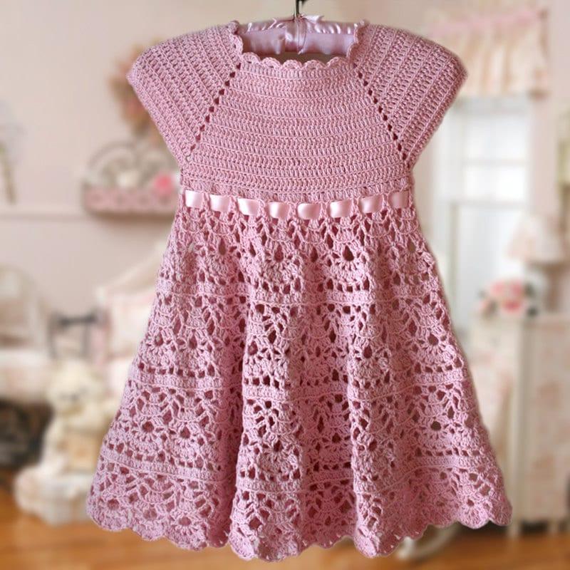 Pink Lace Dress Crochet Pattern Flower Girl Dress Pink