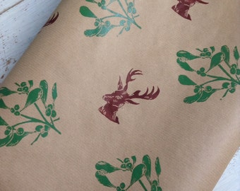 Luxury Hand printed mistletoe and stag gift wrap