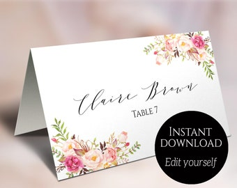 Editable place cards etsy place card template wedding place cards editable place cards escort cards reserved solutioingenieria Gallery