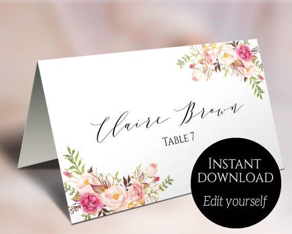 place card template wedding place cards editable place