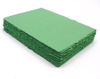 Green handmade paper, recycled, deckle edge, 10 sheets, 5x7 inch