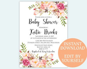 Baby shower invitation Floral baby shower invite printable template Editable PDF DIY Kids shower announcement